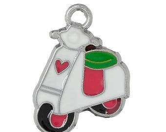 2 charms 22x18mm enameled vespa scooter