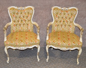 Pair of Vintage Carved French Provincial Accent Chairs