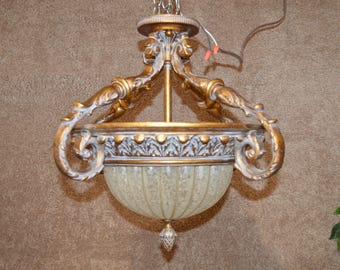 Ornate Tuscan Style Flush Mount Light Fixture