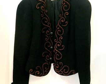 Embroidered black evening jacket