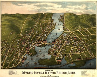 Veiw of Mystic River Bridge, Panoramic Map dated 1879. This print is a wonderful wall decoration for Den, Office, Man Cave or any wall.