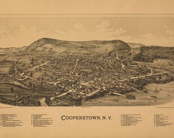 Cooperstown NY Panoramic Map dated 1889. This print is a wonderful wall decoration for Den, Office, Man Cave or any wall.
