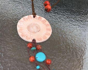 Ceramic Pendant with Beaded Fringe
