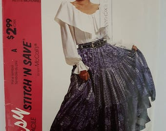 90s McCalls 6914 Easy Stitch 'N Save Peasant Skirt and Top Boho Gypsy look Sizes XS - M