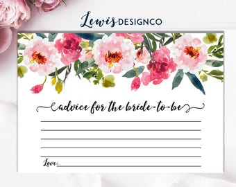 Advice to the Bride to Be Card Insert   Floral Bridal Shower Advice Cards   Printable Instant Download   Floral Bridal Shower Invitation