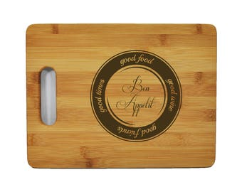 """Custom Bamboo Cutting Board - Popular Food Quotes - Bob Appetite - 11.5""""x8.75"""" - 9/16"""" Thick - 011"""