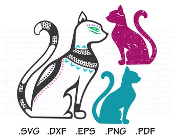 Cat SVG, Cat Silhouette Digital Clipart, Distress Cat SVG, Cricut Design files, Cat Wall Art, Animal SVG File, Silhouette Cameo - CA467