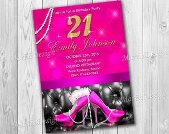 21st birthday invitations. Birthday invitations for women. 30th Birthday Invite. Shoe invitations. Pink shoes invitation - ONLY FILE
