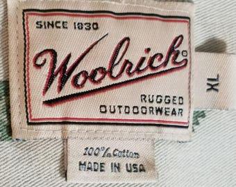 Woolrich Beige Southwestern Motif Mens XL Shirt Made in USA