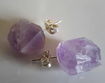 RAW AMETHYST STUD Earrings amethyst aretes nickel free
