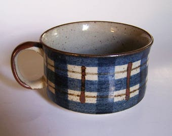 Vintage Otagiri Plaid Soup Mug - Japanese Stoneware Mug - Made in Japan ca. 1960/70s
