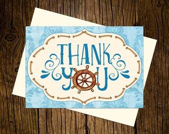 Nautical Thank You Note Cards Custom Printed Handmade Stationery Set of 12 Sailor Ahoy Skipper Blue Vintage Ecru