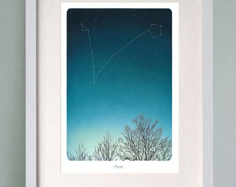 Pisces PRINTABLE, illustration of Pisces star constellation with a complimentary greeting card depicting the moon in the night sky