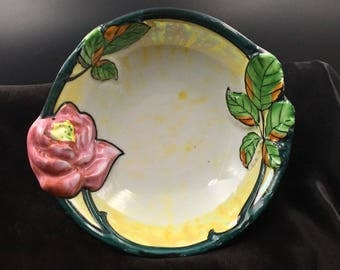 Vintage Majolica Bowl, Hand Painted Roses, Made in Japan, Roses Majolica Bowl, Cherry Blossom Stamp