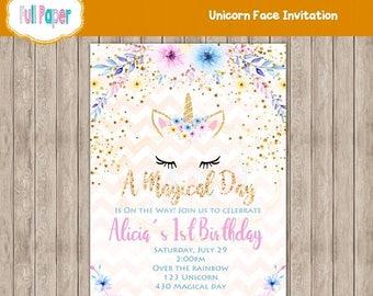 Unicorn Face Invitation, Pink and Gold, Glitter Invitation, Unicorn Watercolor, Flowers, Girl Invitation, Baby Shower, Unicorn Party, Cards