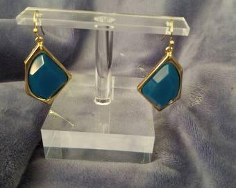 Lovely goldtone blue earrings