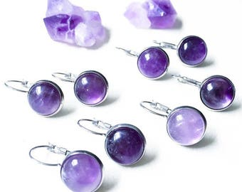 Amethyst Earrings, All-Healing, Good Vibes, Healing Energy, Purple, Natural Stone, Stainless Steel
