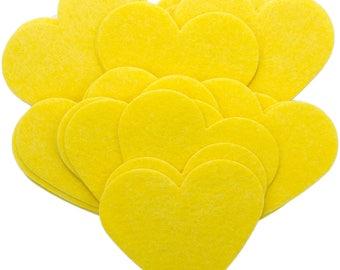 Yellow Stiff Felt 3 Inch Hearts (22pc)