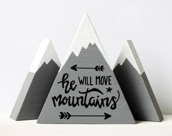 Wooden mountains, Baby boy gift, He will move mountains, First baby boy, Baby shower gift, The mountains are calling, He believed, Boy mom
