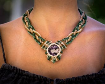 Macrame necklace with purple agate stone
