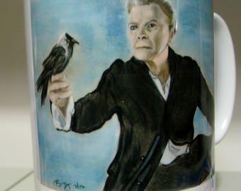 David Bowie with Jackdaw Blackstar coffee mug