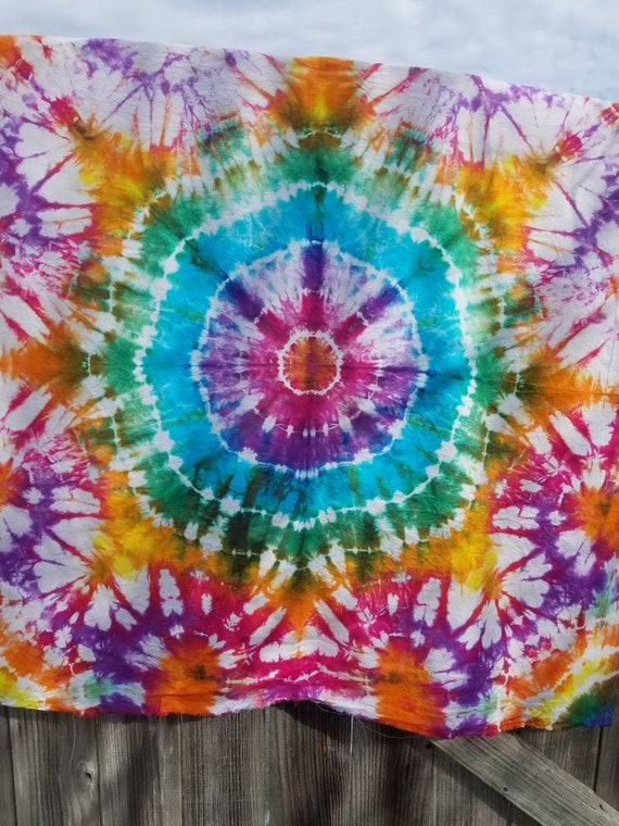 Tie Dye Cotton Fabric, Tie Dye Tapestry, Tie Dye Wall Hanging, Rainbow Tie Dye, Hand Dyed Fabric, Tie Dye Sewing Supplies, Tie Dye Craft