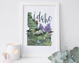 Idaho Art Print, Idaho Gift, Housewarming Idea, Wall Art Print, Idaho Map, Idaho State, Map of Idaho, Idaho Decor, ID Map Print