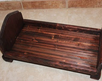 Mahogany Doll Bed,18 inch Doll Bed,Doll Bed,Doll Furniture,Wood Doll Bed and Mattress