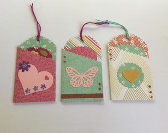Pocket tags, gift tags, planner accessories, journaling, scrapbooking, embellishments, craft, snail mail, paper craft, set of 3