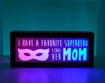 Super Mom, Super Hero Mom, Light Box, Inspirational Gift, Gift for Her, Mom Super Hero, Unique Gift, Color Changing Sign, Awesome Mom Gift