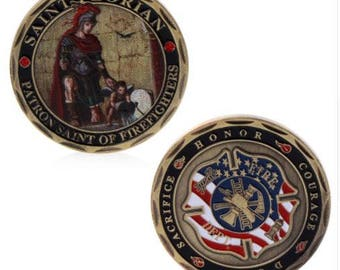 St. Florian Patron Saint Firefighters Fire Rescue Commemorative Challenge Coin