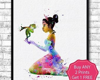 Birthday 20% OFF Princess Tiana and the Frog 4 Watercolor Print Disney Poster Art Illustration Giclee Wall Baby Nursery Art Princess Print H