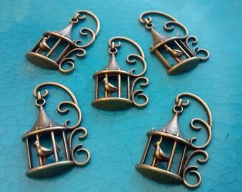 10 bird cages bronze plated charms pendants DIY bracelets earrings necklaces jewellery making charms