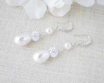 Wedding earring, Swarovski teardrop pearl bridal earring, Pave rhinestone earring, Pearl teardrop earring, Bridesmaid earring