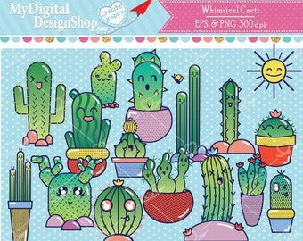 Whimsical Cacti Vector EPS PNG, Cactus garden, Desert cactuses image, cactus with faces, Cute nopal, Succulent in pot,Playful Cactuses, C084