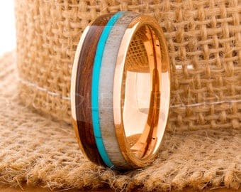 Tungsten Ring Tungsten Wedding Ring Band Mens Women's Wedding Band Rose Gold Red Wood Deer Antler Turquoise Anniversary Dome 8mm New Design