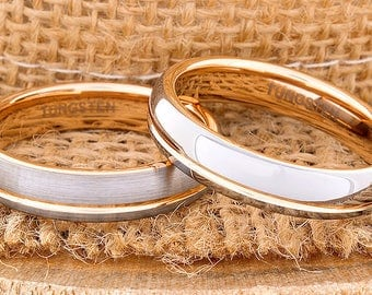 Tungsten Ring Tungsten Wedding Ring Rose Gold Wedding Band Ring 5mm Tungsten Ring Man Women Wedding Band Anniversary Matching Ring Dome New