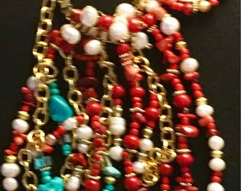 Elabroate Turquoise and Coral Necklace with Freshwater Pearls
