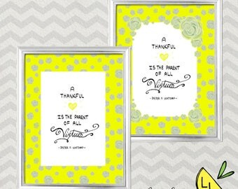 LDS Art, A Thankful Heart Quote, Yellow Flowers,Printable Art, Handdrawn, Dieter F. Uchtdorf, Virtue Quote, LDS Decor, lds Gifts, LDS Quotes