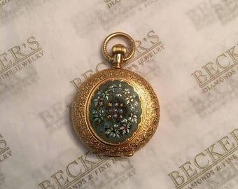 Art Nouveau 18k Yellow Gold Etched Multi-Colored Floral Enamel Pocket Watch with 5 Rose Cut Diamonds Runs/Stops