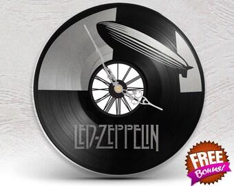 Clock vinyl two layered black & marble / / Led Zeppelin Robert Plant Rock