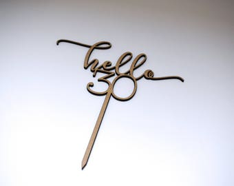 """Cake topper wood hello """"age"""""""