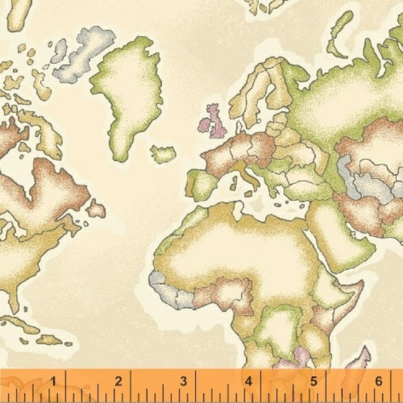 World Map Fabric Windham. Meridian Map Fabric  Continents on Cream Windham 50035 1 World by the yard Sailing Fat Quarter and Yardage from