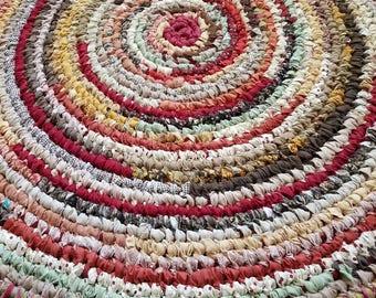 Handmade Rag Rug -Large  Round Rag Rug- Earthtone Rug