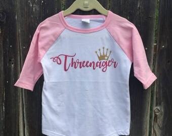 Threenager pink raglan tee