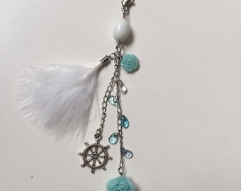 Rose, Beads, and Feathers Planner Charm