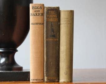Antique Books, Vintage Books, Rustic Books, Vintage Collection, Book Décor, Wedding Decor, Home Decor, Centerpiece, Office Décor, Book set