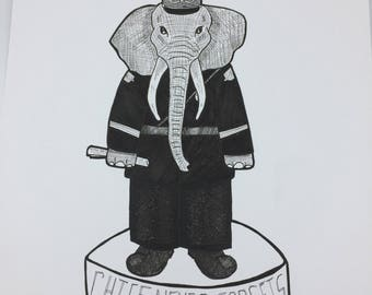 Chief Never Forgets Elephant original marker and ink illustration