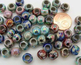 50 perles rondes 8mm motifs abstraits irisé acrylique RES-84 DIY création bijoux déco