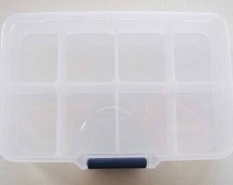 1 Casier plastique transparent 8 cases Rangement Boîtes séparations amovibles Loisirs créatifs perles mercerie